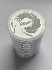 More details for 2022 pm tuvalu 007 james bond black 1 oz 9999 fine silver coin pm capsule. x2