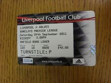 24/09/2011 Ticket: Liverpool v Wolverhampton Wanderers  . Thanks for viewing our