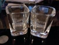 JOSE CUERVO 1800 Shot Glass set of two heavy square