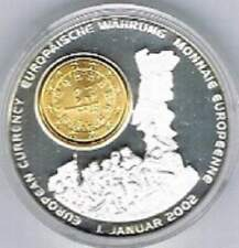 Verzilverde penning met vergulde 1 eurocent inlay 40 mm/31 gram - Portugal