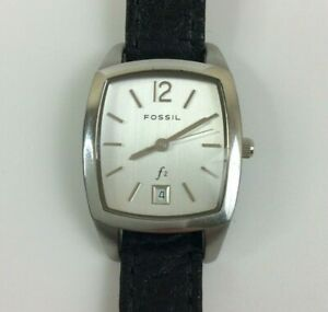 Fossil F2 Watch Women Silver Tone Black Leather New Battery