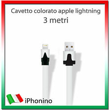 3 Metri 3m Cavo Dati PIATTO APPLE LIGHTNING - Iphone 5/5S/6 iPad Ipod