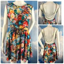 K Pop Rave Dress Pearl Trim Sheer Back Fit Flare Photo Print M Jewel Floral Tiki