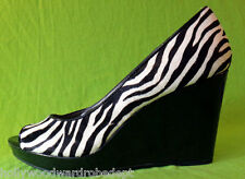 BANDOLINO ZEBRA real fur 3.25 inch wedge heel patent leather open toe stripper