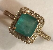 2.09CT NATURAL EMERALD &  NATURAL DIAMONDS  RING IN 10k YELLOW GOLD