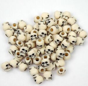 Antiqued Ivory Skull Pony Beads made in USA Halloween crafts paracord survival