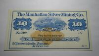 $10 1870s Austin Nevada NV Obsolete Currency Bank Note Bill Manhattan Silver Co.