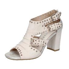 scarpe donna LUCA STEFANI 39 EU sandali beige pelle borchie BZ665-E