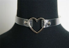 Transparent Clear Collar Choker Necklace with Silver Heart - Punk Goth Fetish