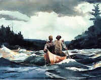 Winslow Homer Watercolor Painting - Canoe in the Rapids - Fine Art Print Canvas