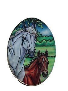 "AMIA SUN CATCHER HORSES by CAROLINE COOK DENVER Oval 4 1/2"" X 3 1/2"" NEW"