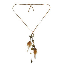 New Fashion Skull Coin Feather Leaf Pendant Charm Leather Necklace Jewelry