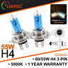 2x H4 55W 5000K HID XENON SUPER WHITE HALOGEN BULBS 12V PLASMA UPGRADE