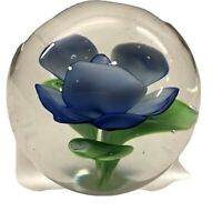 """Vintage Art Glass Paperweight with Blue flower Flower Green Leaves 2.5"""""""
