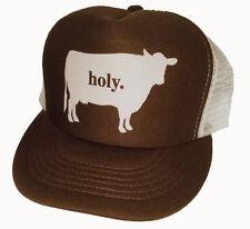 Holy Cow  Brown Snapback Mesh Trucker Hat Cap Farmer
