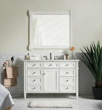 "48"" James Martin Brittany Cottage White Single Bathroom Vanity + Marble Top Sink"