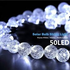 50 LED Bright White Crystal Ball Globe Lights Solar Outdoor String Light Patio