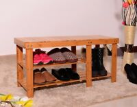 3Tier Bamboo Stool Shoe Rack Bench Storage Seat Organizer Shelf Entryway Hallway