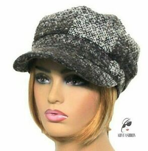 Women's Baker Boy Hat Ladies Cap Brown & Beige Knitted Hat 8 panel Nanny Chic