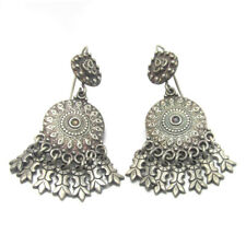 Traditional Antique Vintage Old Silver Dangle Earrings Ethnic Tribal Jewelry