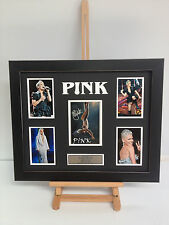 UNIQUE PROFESSIONALLY FRAMED, SIGNED P!NK PHOTO COLLAGE WITH PLAQUE.