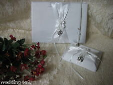 Wedding Party Ceremony Western Guest Book Pen & Base Horseshoe & Boot 3 Psc Set