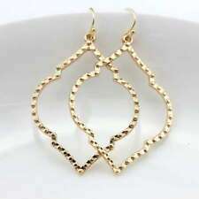 Zinc Alloy Frame Gold Filigree Statement Arabesque Chandelier Earrings for Women