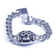 US Seller Men's Silver Stainless Steel Biker Cross Skull Bracelet SL15
