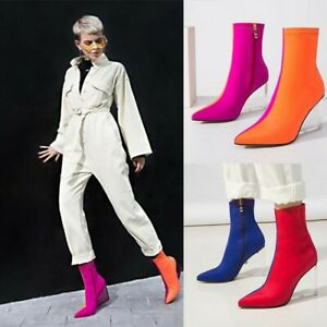 Sexy Women Pointy Toe Block Heels Ankle Boots Zipper Chic Color Stitching Shoes