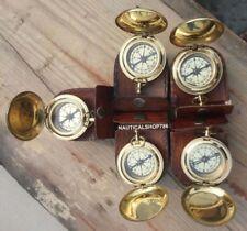 Vintage Unique Nautical Vintage Brass Compass With Case Free Set of 5