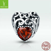 925 Sterling Silver Garnet Charm Bead January Birthstone Fit Chain Birthday Gift