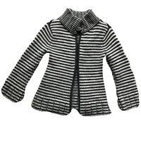 Talbots Women's Gray White Striped Merino & Lambs Wool Angora Cardigan Sweater-Z