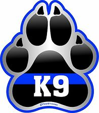 "1078 ProSticker (One) 4"" K9 Paw Thin Blue Line Support Decal Sticker"