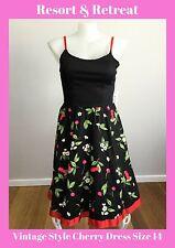 Vintage Style Cherry Dress 14, Summer Dress, Tea Dress, Race Day, Rockabilly