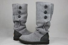 UGG Classic Cardy Cashmere Grey Heather Knit Sheepskin Button Boots Size 6 US