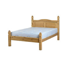Corona Bed Frame - Double 4ft6 - Distressed Waxed Pine - Low Foot End