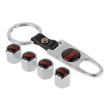 For GMC Silver Emblem Chrome Car Keychain Tire Valve Stem Caps Tube Valve Cover