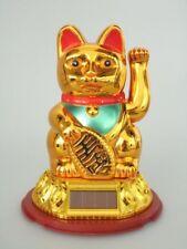 [ GOLDFARBEN ] SOLAR - Glückskatze 18cm / Winkekatze / Feng Shui / Maneki Neko