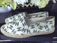 AUTH. CHANEL ESPADRILLES SHOES FLATS COCO MARK  LIGHT GREEN LEATHER SIZE 39/ US9