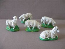 Set of 5 Antique Sheep Germany Nativity or Display Paper Mache Composition