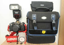 Canon A-1 35mm SLR Film Camera with 50mm lens Kit with case and sigma flash