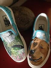 Custom culture hand painted Men's Womens sneakers VANS slip ons dog portrait pet