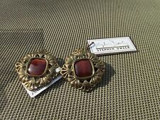 Stephen Dweck earrings bronze red tiger iron stone clip on new