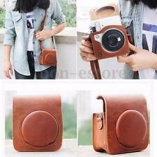 Fashion Leather Shoulder Bag Strap For Fujifilm Instax Mini 70 Camera Case Brown