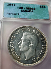 1947 RARE POINTED 7 CANADA SILVER DOLLAR ICG Graded MS-62 Coin $1
