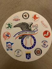 "AMERICAN LEAGUE BASEBALL STICKER / DECAL VINTAGE 1970'S 12 TEAM LOGO  5"" DIA"