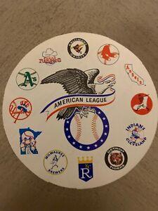 "AMERICAN LEAGUE BASEBALL STICKER / DECAL VINTAGE 1970'S 12 TEAM LOGO  5"" DIA"