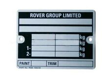 CLASSIC MINI 'ROVER GROUP LIMITED' CHASSIS PLATE CP477 1988> ROVER COOPER CH1