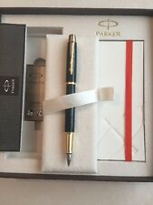 PARKER IM BLACK LAQUE GT FOUNTAIN PEN & NOTE BOOK DELUXE GIFT SET-BLACK INK
