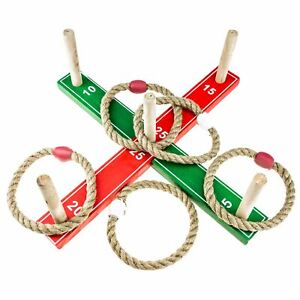 Kids Classic Ring Toss Rope Quoits Pegs Hoopla Wooden Garden Outdoor Family Game
